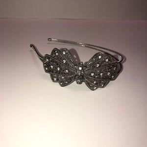 Rhinestone Bow Metal Headband